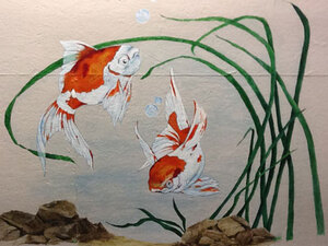 A pet enclosure decorated with an aquatic scene is one of the popular theme rooms at Glenpark Pet Hotel